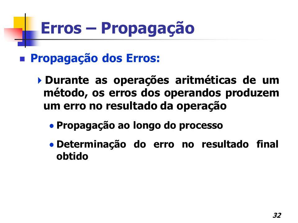 32 Erros – Propagação Propagação dos Erros:  Durante as operações aritméticas de um método, os erros dos operandos produzem um erro no resultado da o