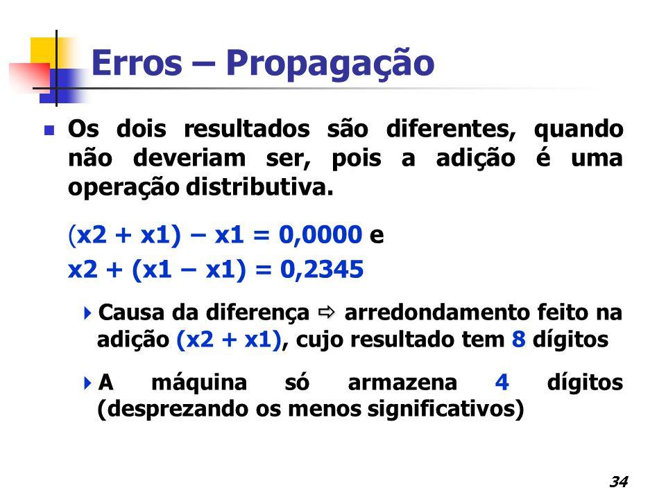 34 Erros – Propagação Os dois resultados são diferentes, quando não deveriam ser, pois a adição é uma operação distributiva. (x2 + x1) − x1 = 0,0000 e