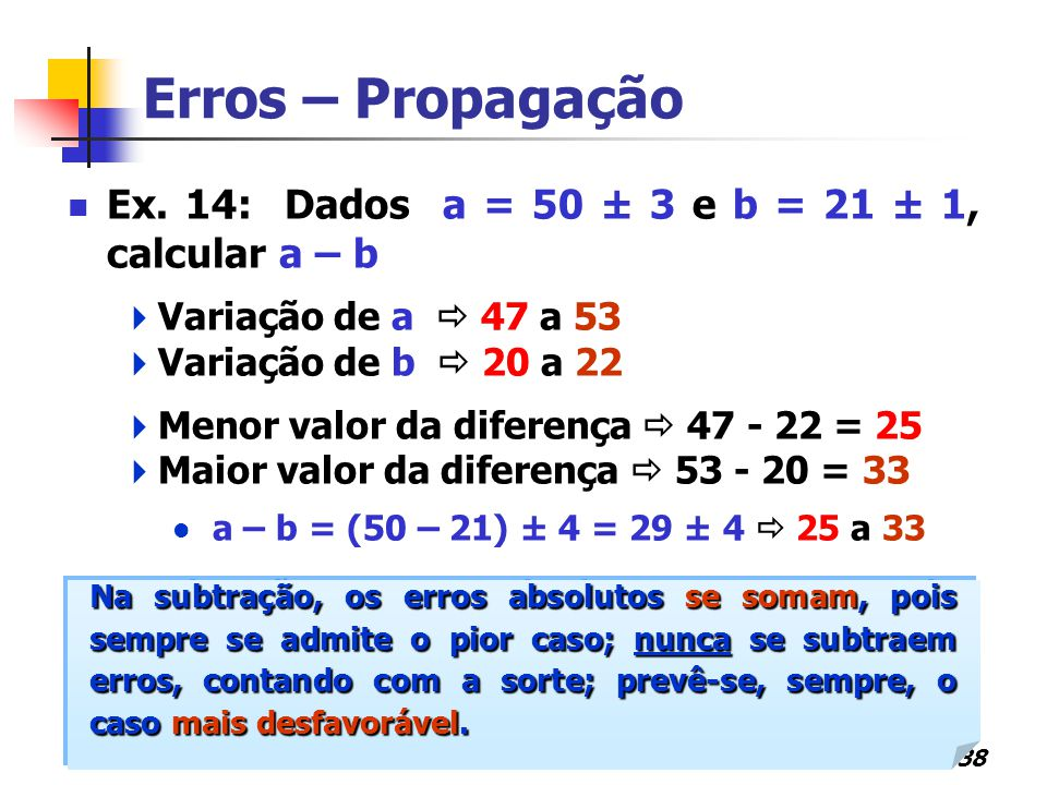 38 Erros – Propagação Ex. 14: Dados a = 50 ± 3 e b = 21 ± 1, calcular a – b  Variação de a  47 a 53  Variação de b  20 a 22  Menor valor da difer