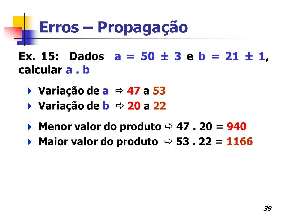 39 Erros – Propagação Ex. 15: Dados a = 50 ± 3 e b = 21 ± 1, calcular a. b  Variação de a  47 a 53  Variação de b  20 a 22  Menor valor do produt