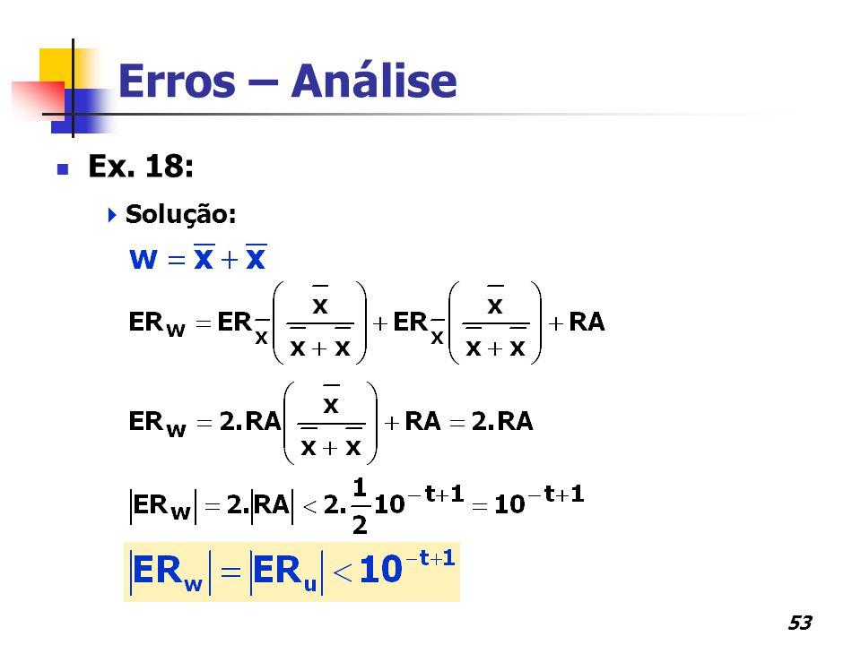 53 Erros – Análise Ex. 18:  Solução: