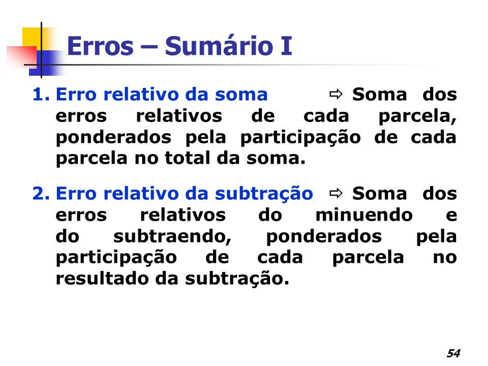 54 Erros – Sumário I 1.Erro relativo da soma  Soma dos erros relativos de cada parcela, ponderados pela participação de cada parcela no total da soma