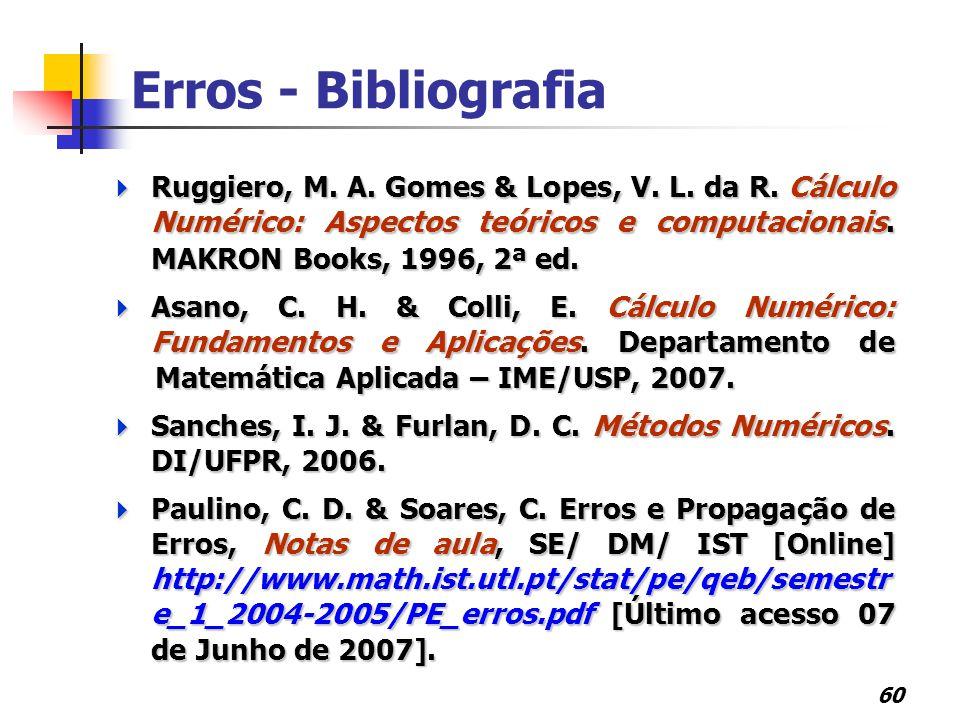 60 Erros - Bibliografia  Ruggiero, M. A. Gomes & Lopes, V. L. da R. Cálculo Numérico: Aspectos teóricos e computacionais. MAKRON Books, 1996, 2ª ed.
