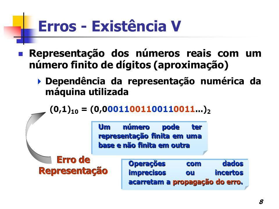 8 Representação dos números reais com um número finito de dígitos (aproximação)  Dependência da representação numérica da máquina utilizada Um número