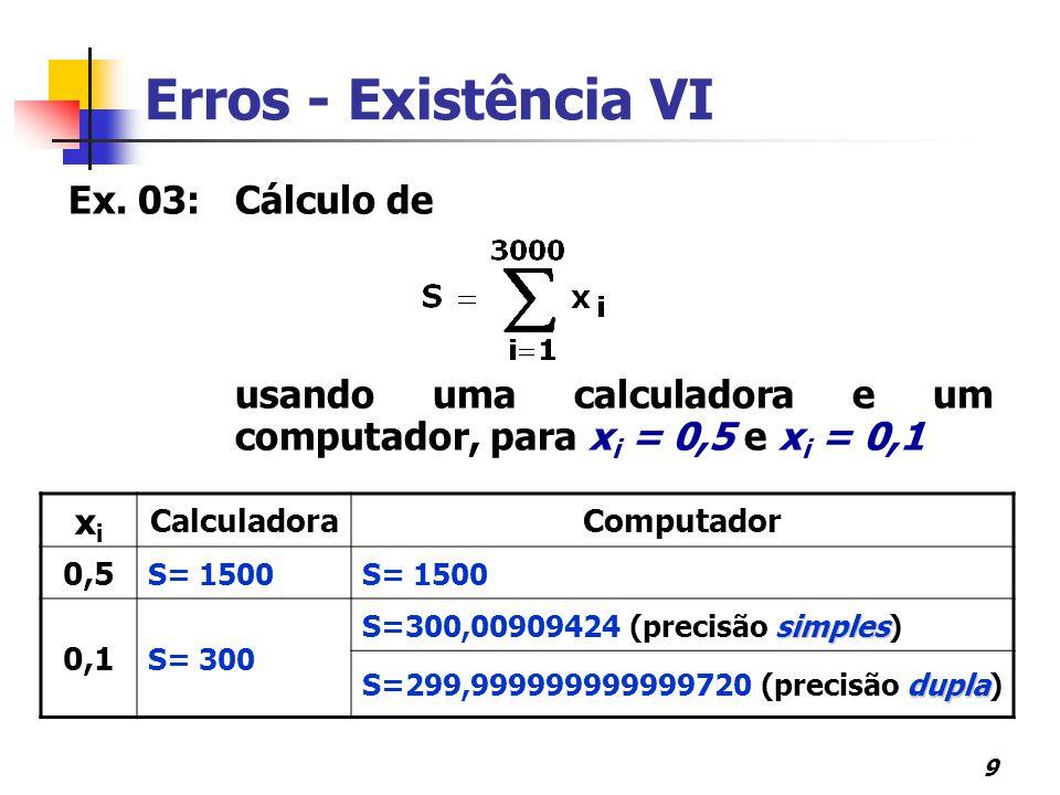 9 Erros - Existência VI Ex. 03:Cálculo de usando uma calculadora e um computador, para x i = 0,5 e x i = 0,1 xixi CalculadoraComputador 0,5 S= 1500 0,