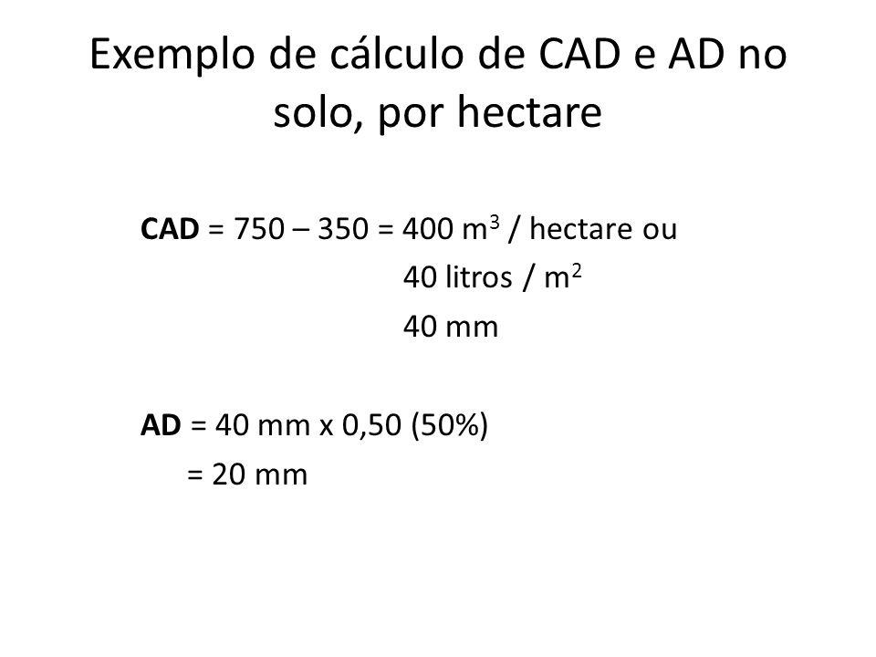 Exemplo de cálculo de CAD e AD no solo, por hectare CAD = 750 – 350 = 400 m 3 / hectare ou 40 litros / m 2 40 mm AD = 40 mm x 0,50 (50%) = 20 mm