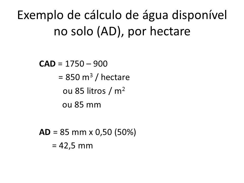 Exemplo de cálculo de água disponível no solo (AD), por hectare CAD = 1750 – 900 = 850 m 3 / hectare ou 85 litros / m 2 ou 85 mm AD = 85 mm x 0,50 (50