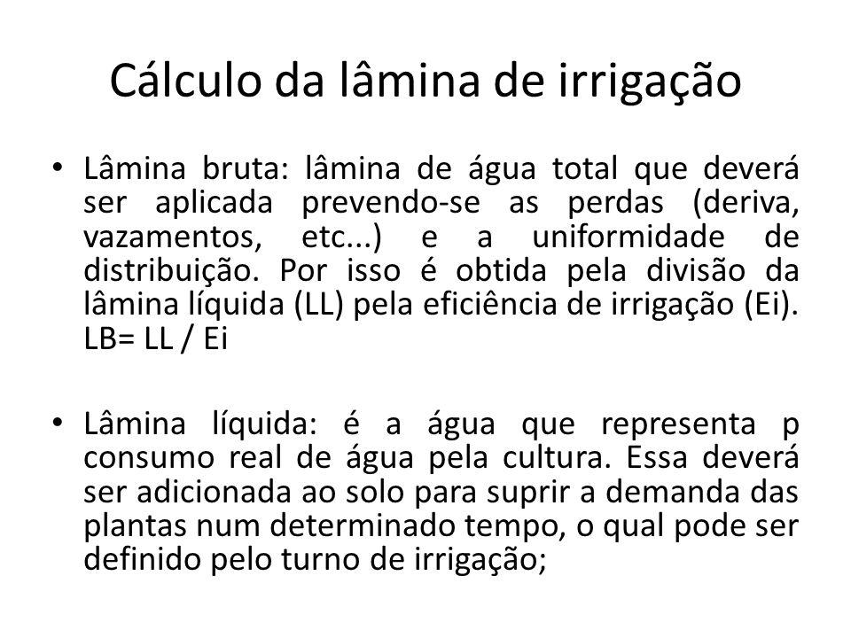 Cálculo da lâmina de irrigação Lâmina bruta: lâmina de água total que deverá ser aplicada prevendo-se as perdas (deriva, vazamentos, etc...) e a unifo