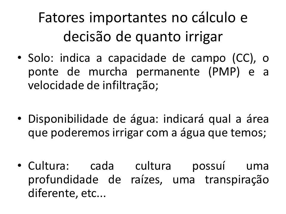Fatores importantes no cálculo e decisão de quanto irrigar Solo: indica a capacidade de campo (CC), o ponte de murcha permanente (PMP) e a velocidade