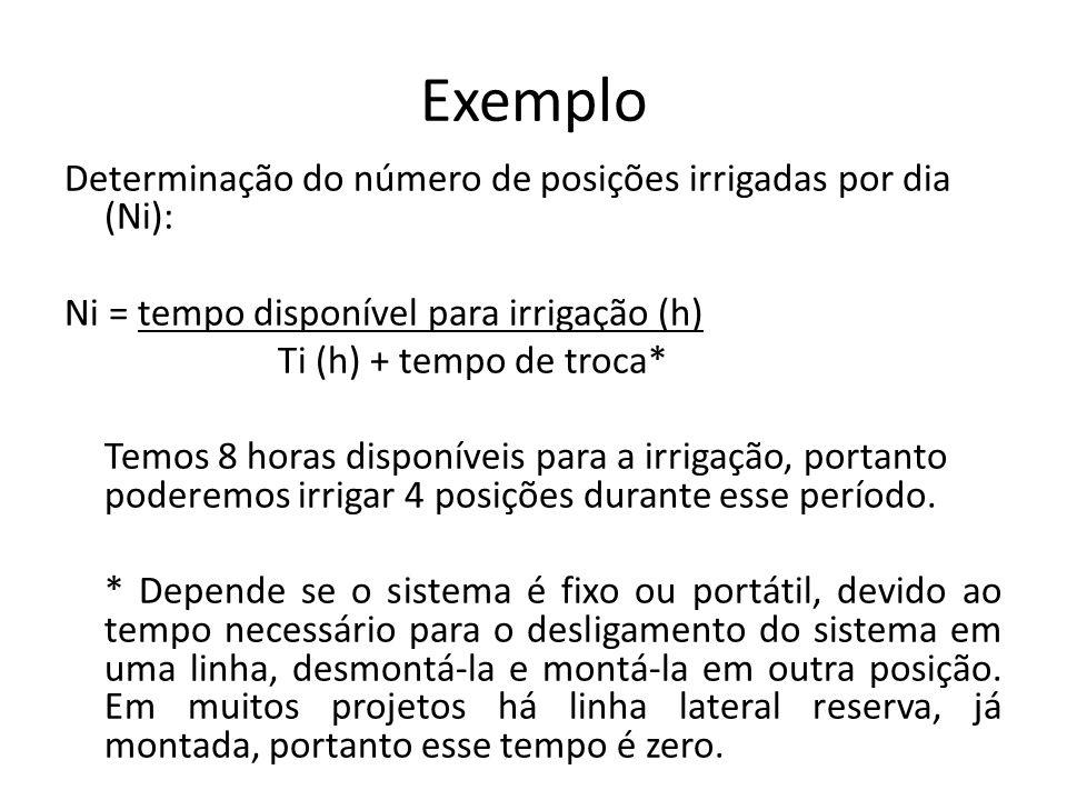 Exemplo Determinação do número de posições irrigadas por dia (Ni): Ni = tempo disponível para irrigação (h) Ti (h) + tempo de troca* Temos 8 horas dis