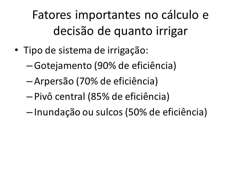 Fatores importantes no cálculo e decisão de quanto irrigar Tipo de sistema de irrigação: – Gotejamento (90% de eficiência) – Arpersão (70% de eficiênc