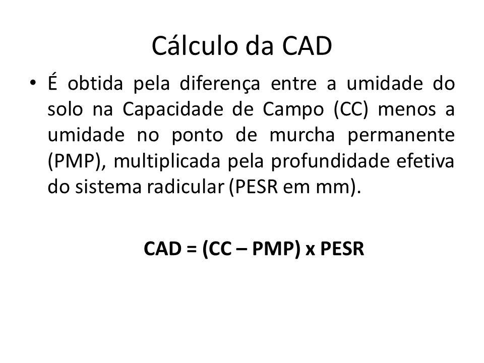 Cálculo da CAD É obtida pela diferença entre a umidade do solo na Capacidade de Campo (CC) menos a umidade no ponto de murcha permanente (PMP), multip
