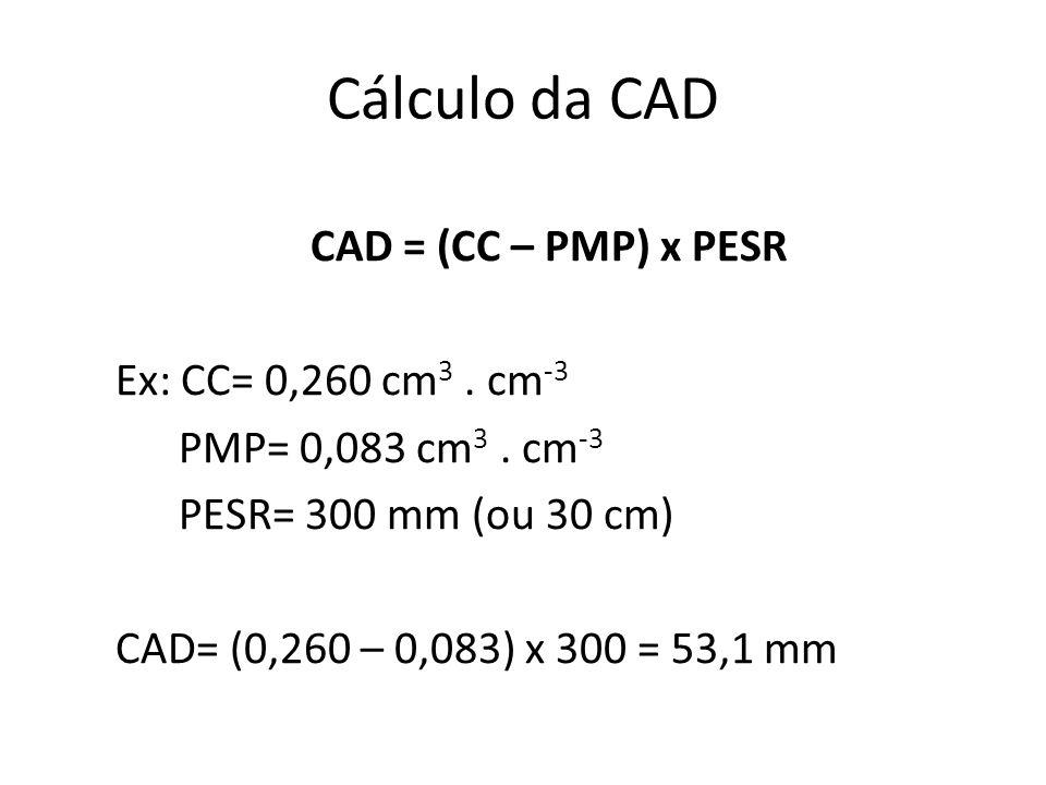 Cálculo da CAD CAD = (CC – PMP) x PESR Ex: CC= 0,260 cm 3. cm -3 PMP= 0,083 cm 3. cm -3 PESR= 300 mm (ou 30 cm) CAD= (0,260 – 0,083) x 300 = 53,1 mm