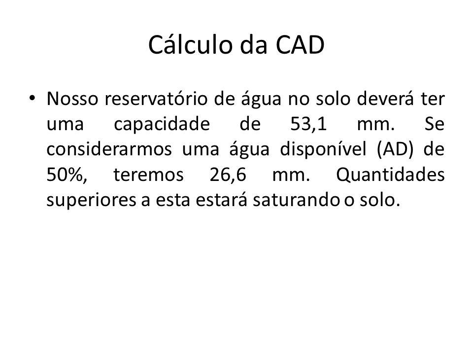 Exemplo de cálculo de CAD e AD no solo, por hectare Siltoso: numa cultura com a maioria das raízes a uma profundidade efetiva de 50 cm, poderemos obter os seguintes dados: CC= 0,50 m x 0,15 x 10.000 m 2 = 750 m 3 / hectare ou 75 litros / m 2 ou 75 mm PMP = 0,50 m x 0,07 x 10.000 m 2 = 350 m 3 / hectare ou 35 litros / m 2 ou 35 mm