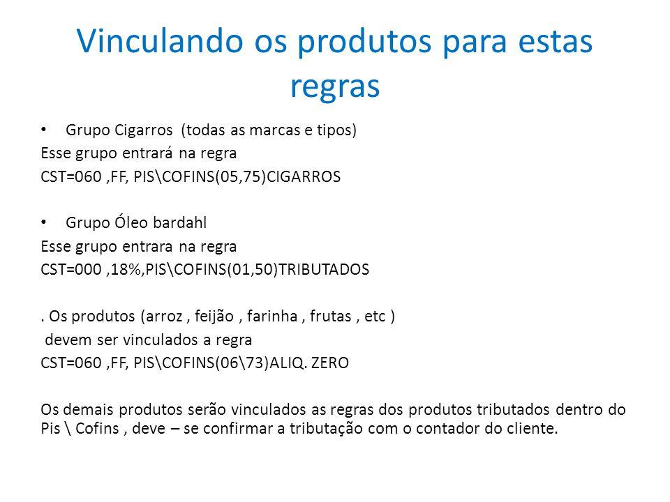 Vinculando os produtos para estas regras Grupo Cigarros (todas as marcas e tipos) Esse grupo entrará na regra CST=060,FF, PIS\COFINS(05,75)CIGARROS Gr