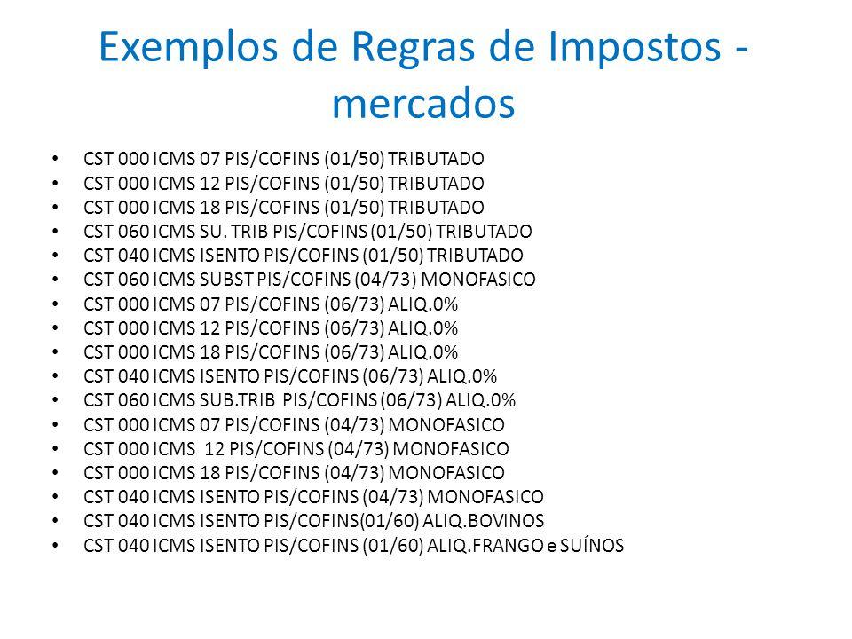 Exemplos de Regras de Impostos - mercados CST 000 ICMS 07 PIS/COFINS (01/50) TRIBUTADO CST 000 ICMS 12 PIS/COFINS (01/50) TRIBUTADO CST 000 ICMS 18 PI