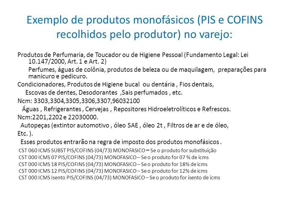 Exemplo de produtos monofásicos (PIS e COFINS recolhidos pelo produtor) no varejo: Produtos de Perfumaria, de Toucador ou de Higiene Pessoal (Fundamen
