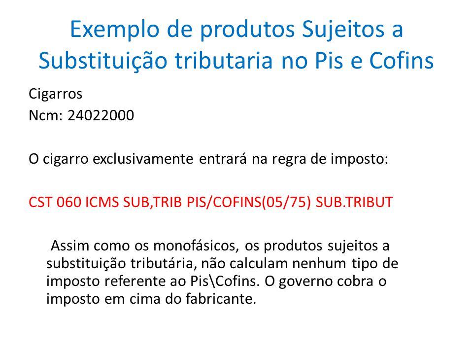Exemplo de produtos Sujeitos a Substituição tributaria no Pis e Cofins Cigarros Ncm: 24022000 O cigarro exclusivamente entrará na regra de imposto: CS