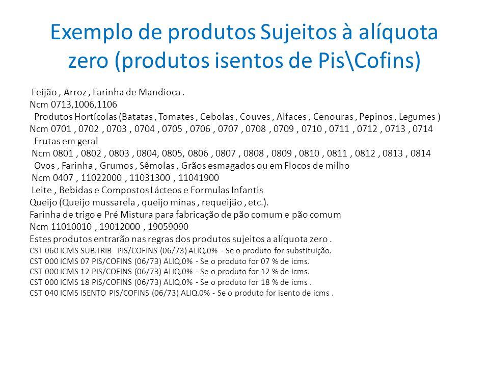 Exemplo de produtos Sujeitos à alíquota zero (produtos isentos de Pis\Cofins) Feijão, Arroz, Farinha de Mandioca. Ncm 0713,1006,1106 Produtos Hortícol