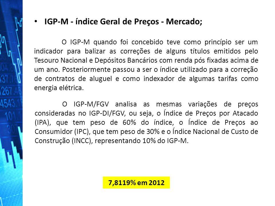 IGP-M - índice Geral de Preços - Mercado; IGP-M - índice Geral de Preços - Mercado; O IGP-M quando foi concebido teve como princípio ser um indicador