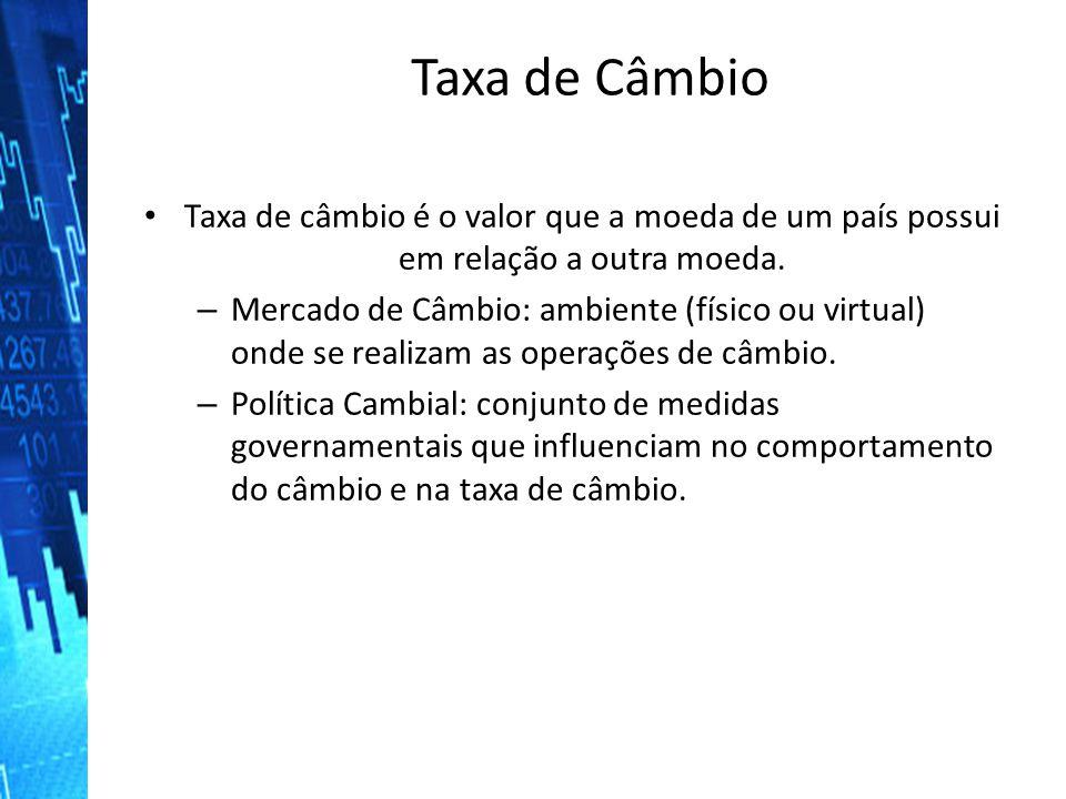 Taxa de Câmbio Taxa de câmbio é o valor que a moeda de um país possui em relação a outra moeda. Taxa de câmbio é o valor que a moeda de um país possui