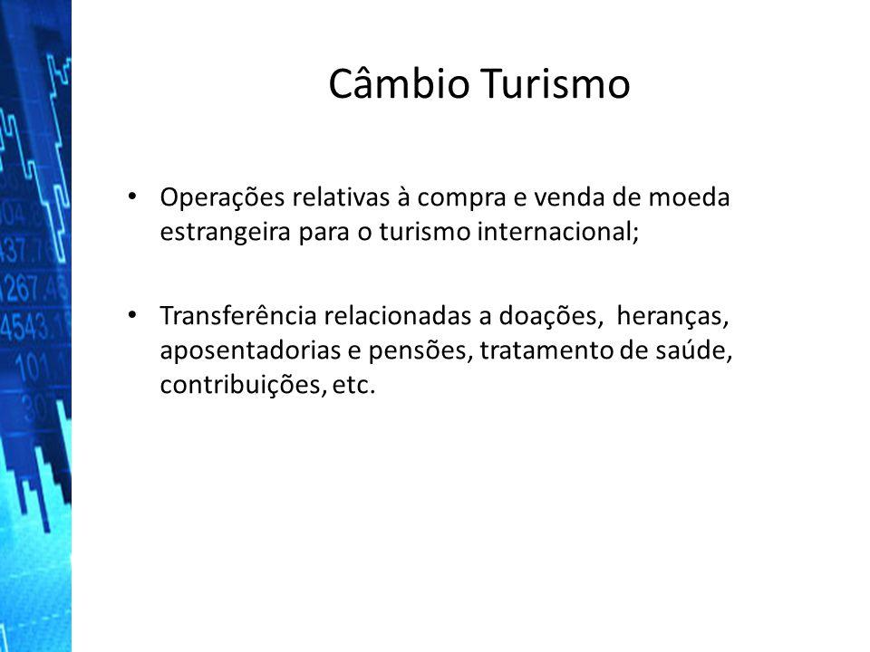 Câmbio Turismo Operações relativas à compra e venda de moeda estrangeira para o turismo internacional Operações relativas à compra e venda de moeda es