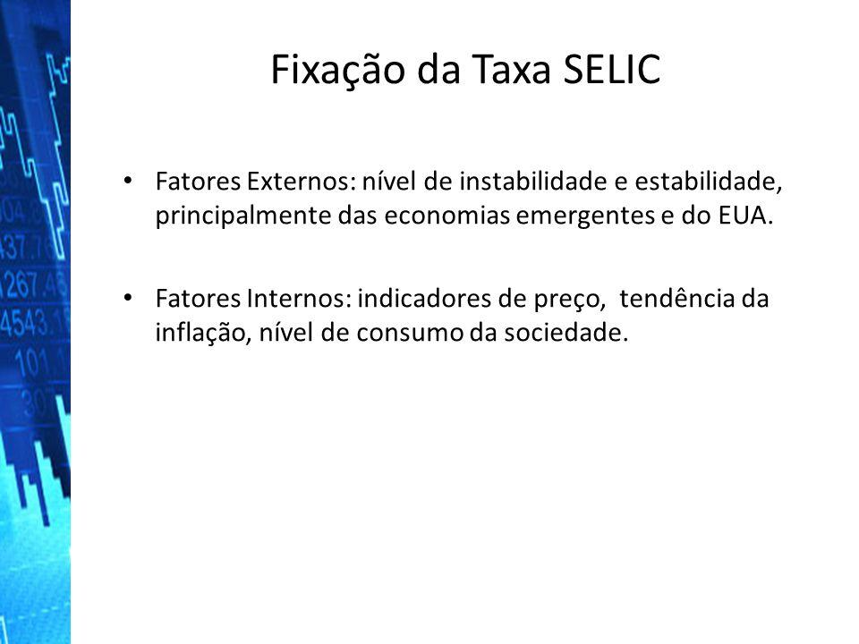 Fixação da Taxa SELIC Fatores Externos: nível de instabilidade e estabilidade, principalmente das economias emergentes e do EUA. Fatores Externos: nív