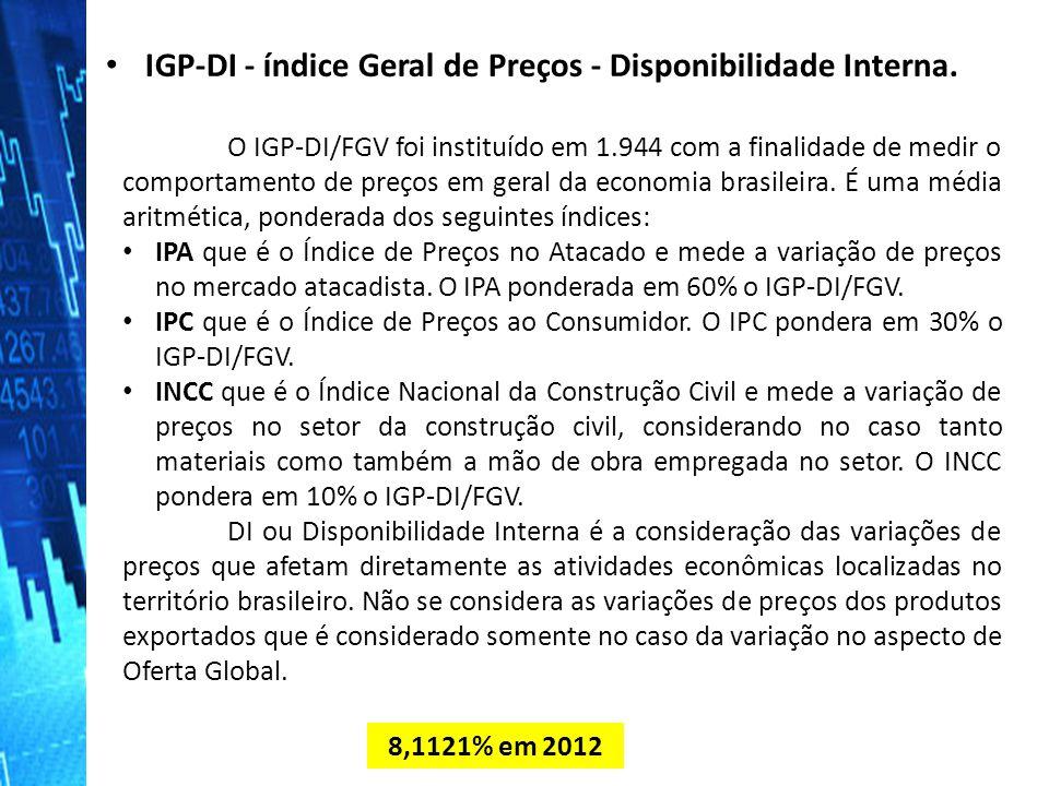 O IGP-DI/FGV foi instituído em 1.944 com a finalidade de medir o comportamento de preços em geral da economia brasileira. É uma média aritmética, pond