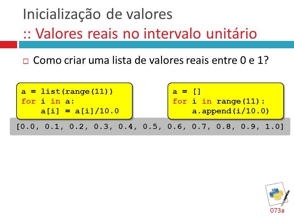 Inicialização de valores :: Valores reais no intervalo unitário  Como criar uma lista de valores reais entre 0 e 1? [0.0, 0.1, 0.2, 0.3, 0.4, 0.5, 0.
