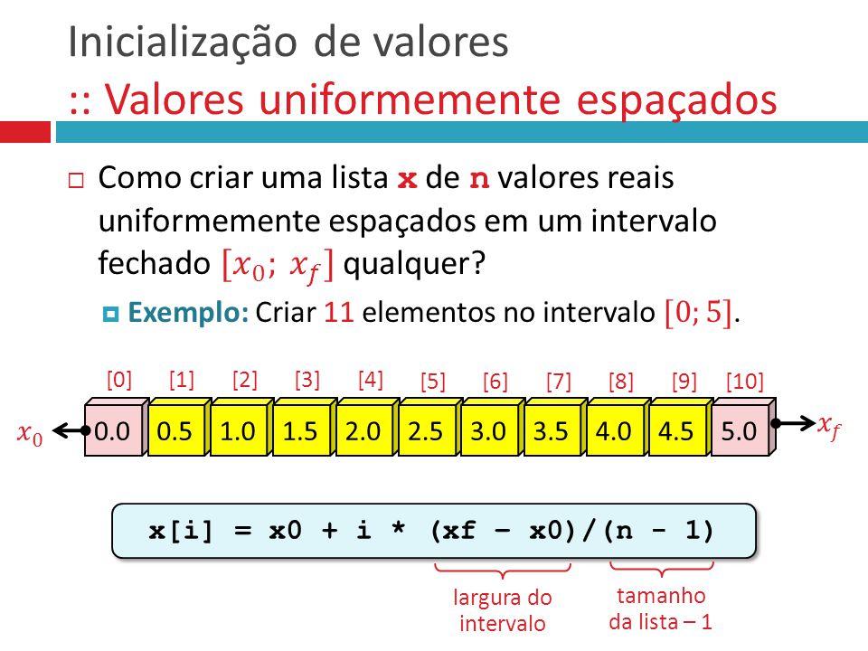 Inicialização de valores :: Valores uniformemente espaçados x[i] = x0 + i * (xf – x0)/(n - 1) 0.00.51.01.52.02.53.03.54.04.55.0 [0][1][2][3][4] [5][6]