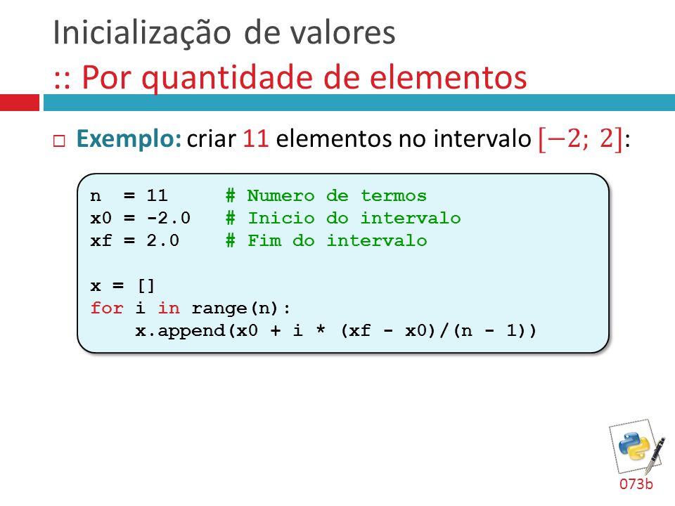 Inicialização de valores :: Por quantidade de elementos n = 11 # Numero de termos x0 = -2.0 # Inicio do intervalo xf = 2.0 # Fim do intervalo x = [] f