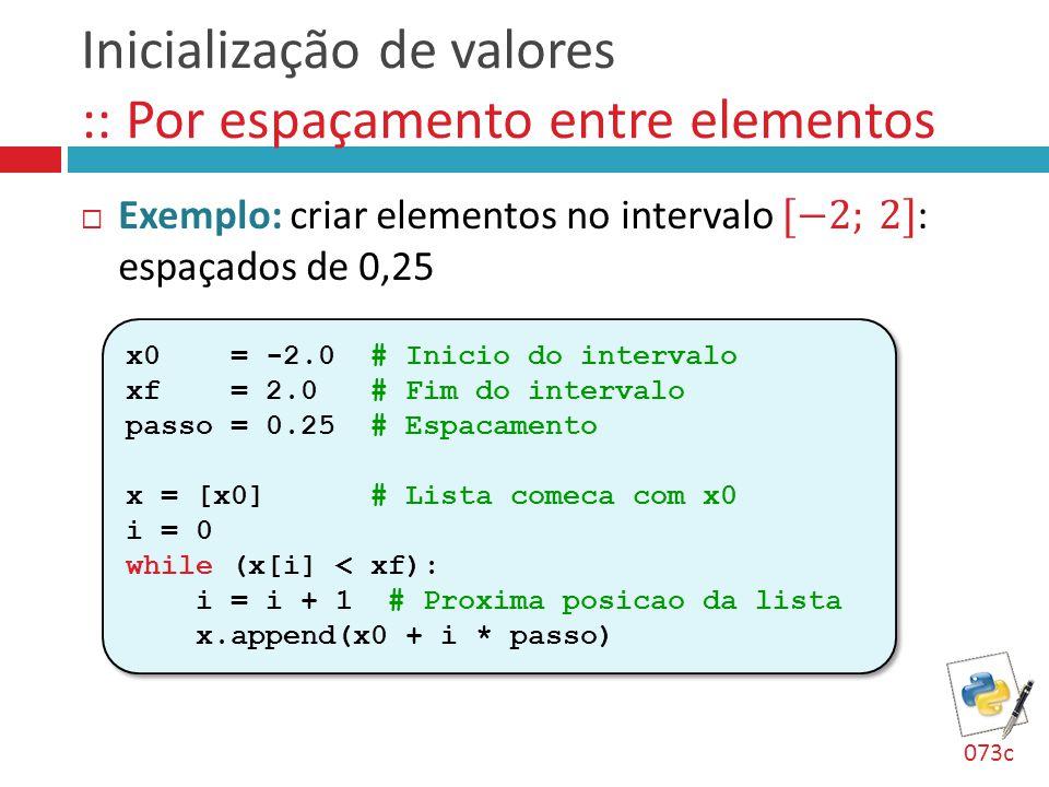 Inicialização de valores :: Por espaçamento entre elementos x0 = -2.0 # Inicio do intervalo xf = 2.0 # Fim do intervalo passo = 0.25 # Espacamento x =