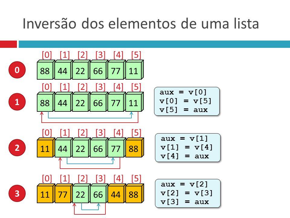 Inversão dos elementos de uma lista 88 44 22 66 77 11 0 [0][1][2][3][4][5] 88 44 22 66 77 11 1 [0][1][2][3][4][5] aux = v[0] v[0] = v[5] v[5] = aux au