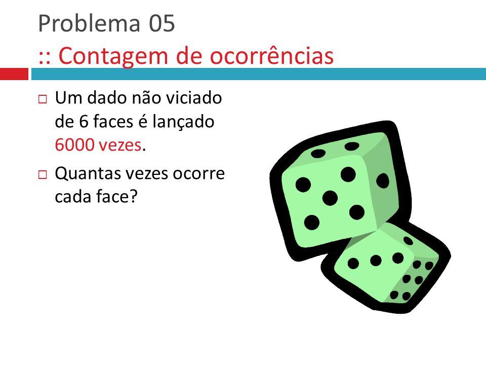 Problema 05 :: Contagem de ocorrências  Um dado não viciado de 6 faces é lançado 6000 vezes.  Quantas vezes ocorre cada face?