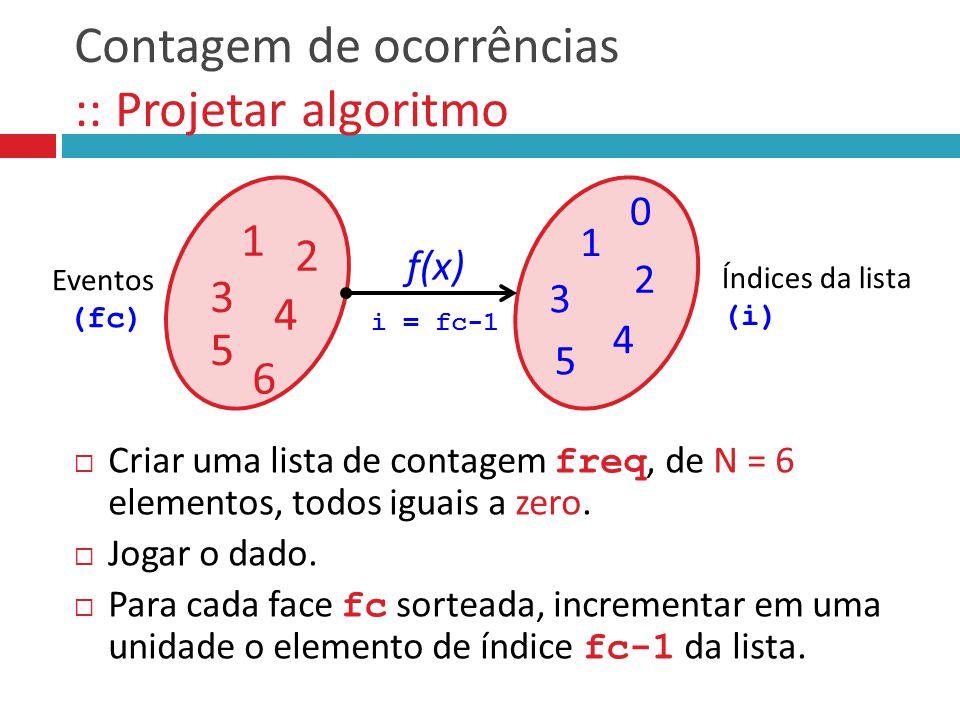 Contagem de ocorrências :: Projetar algoritmo  Criar uma lista de contagem freq, de N = 6 elementos, todos iguais a zero.  Jogar o dado.  Para cada