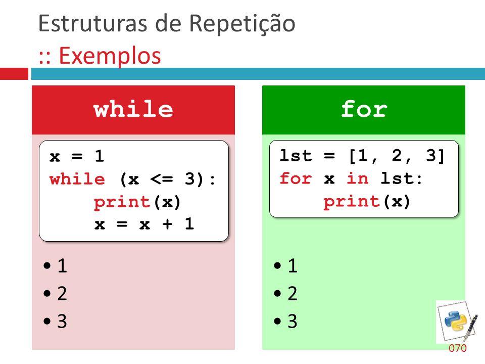 Estruturas de Repetição :: Exemplos while 1 2 3 for 1 2 3 x = 1 while (x <= 3): print(x) x = x + 1 x = 1 while (x <= 3): print(x) x = x + 1 lst = [1,