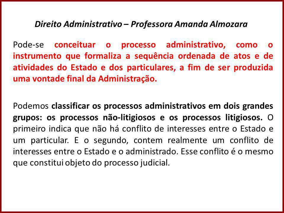 Direito Administrativo – Professora Amanda Almozara Pode-se conceituar o processo administrativo, como o instrumento que formaliza a sequência ordenada de atos e de atividades do Estado e dos particulares, a fim de ser produzida uma vontade final da Administração.