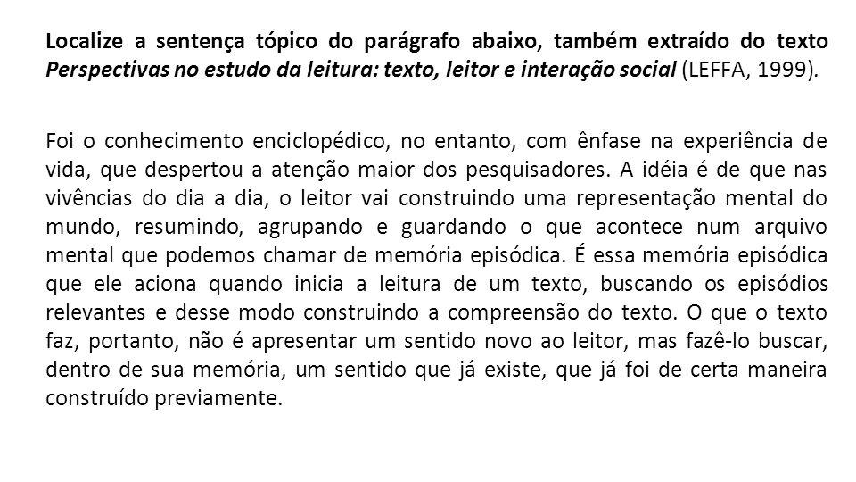 Localize a sentença tópico do parágrafo abaixo, também extraído do texto Perspectivas no estudo da leitura: texto, leitor e interação social (LEFFA, 1999).