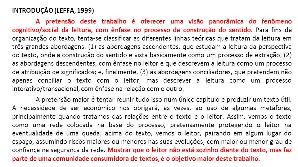 INTRODUÇÃO (LEFFA, 1999) A pretensão deste trabalho é oferecer uma visão panorâmica do fenômeno cognitivo/social da leitura, com ênfase no processo da construção do sentido.