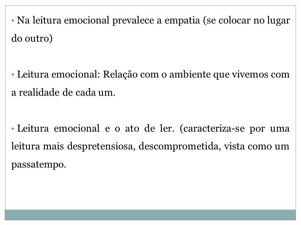 Na leitura emocional prevalece a empatia (se colocar no lugar do outro) Leitura emocional: Relação com o ambiente que vivemos com a realidade de cada