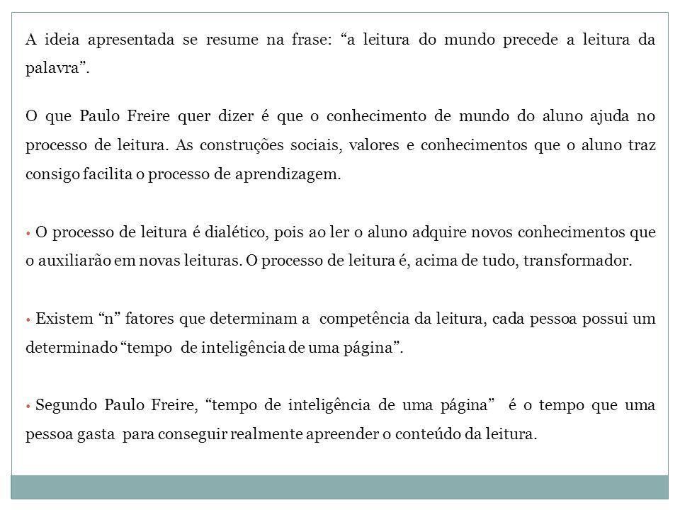 """A ideia apresentada se resume na frase: """"a leitura do mundo precede a leitura da palavra"""". O que Paulo Freire quer dizer é que o conhecimento de mundo"""