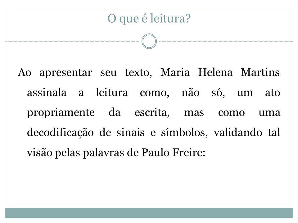O que é leitura? Ao apresentar seu texto, Maria Helena Martins assinala a leitura como, não só, um ato propriamente da escrita, mas como uma decodific