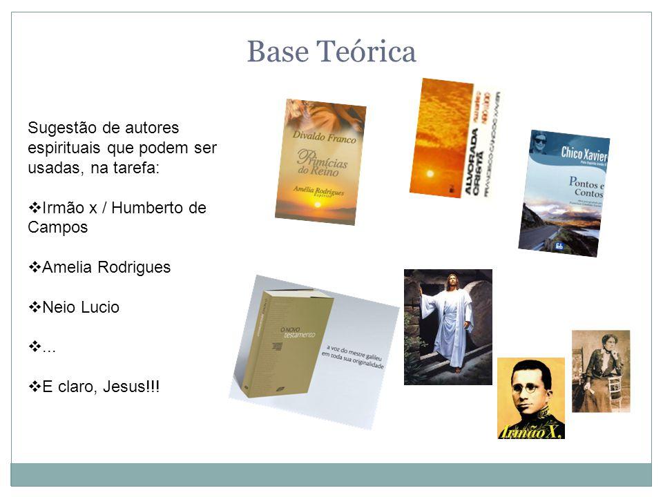 Base Teórica Sugestão de autores espirituais que podem ser usadas, na tarefa:  Irmão x / Humberto de Campos  Amelia Rodrigues  Neio Lucio ...