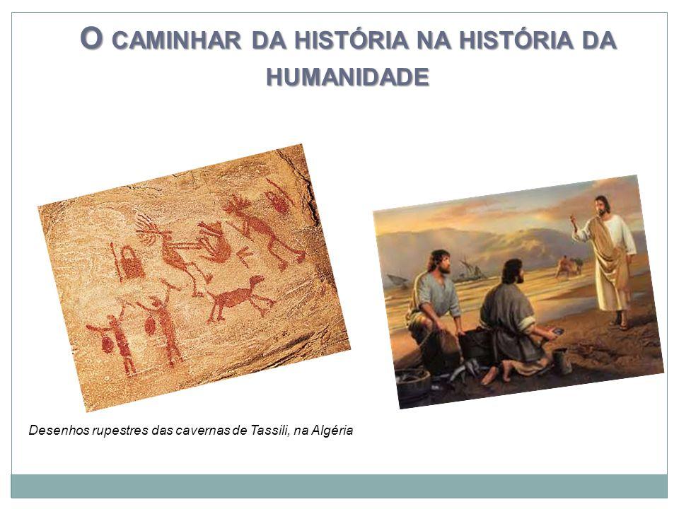 O CAMINHAR DA HISTÓRIA NA HISTÓRIA DA HUMANIDADE Desenhos rupestres das cavernas de Tassili, na Algéria