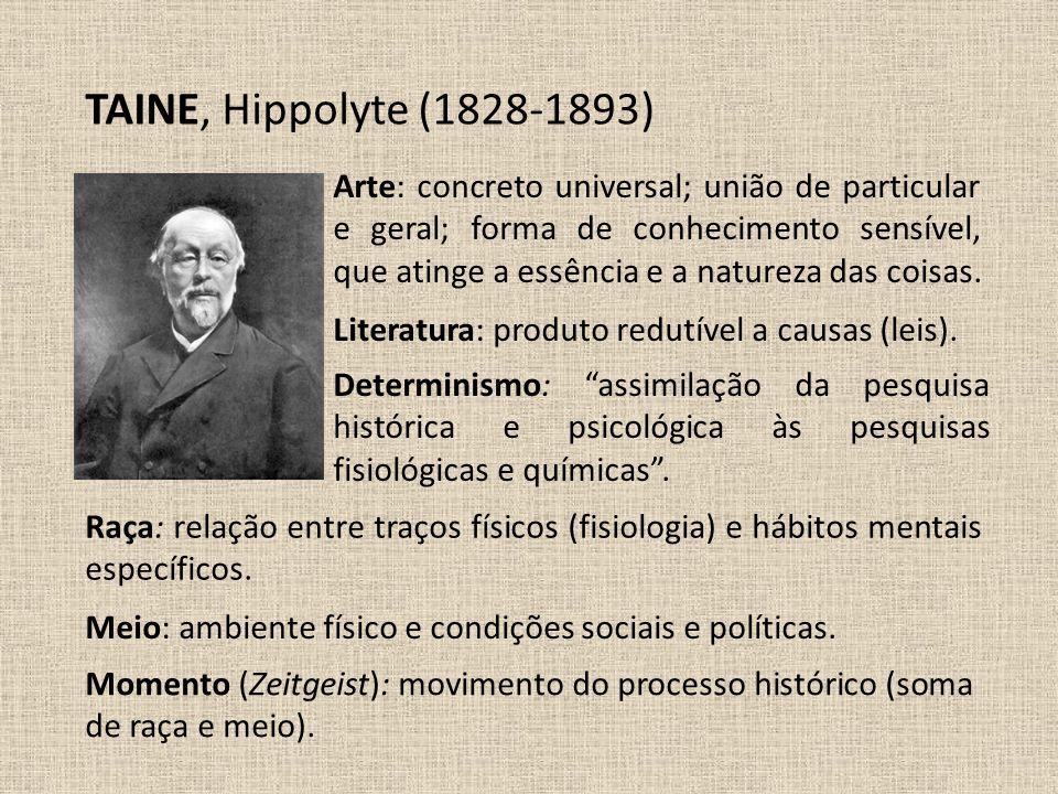 TAINE, Hippolyte (1828-1893) Literatura: produto redutível a causas (leis). Arte: concreto universal; união de particular e geral; forma de conhecimen