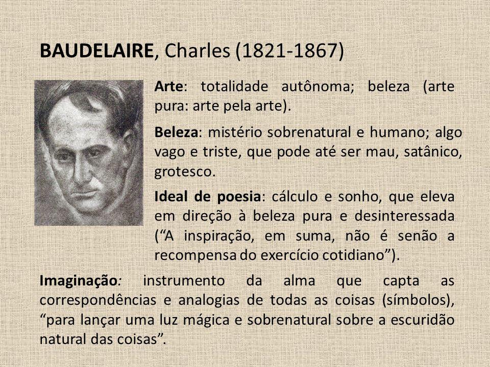 BAUDELAIRE, Charles (1821-1867) Beleza: mistério sobrenatural e humano; algo vago e triste, que pode até ser mau, satânico, grotesco. Arte: totalidade