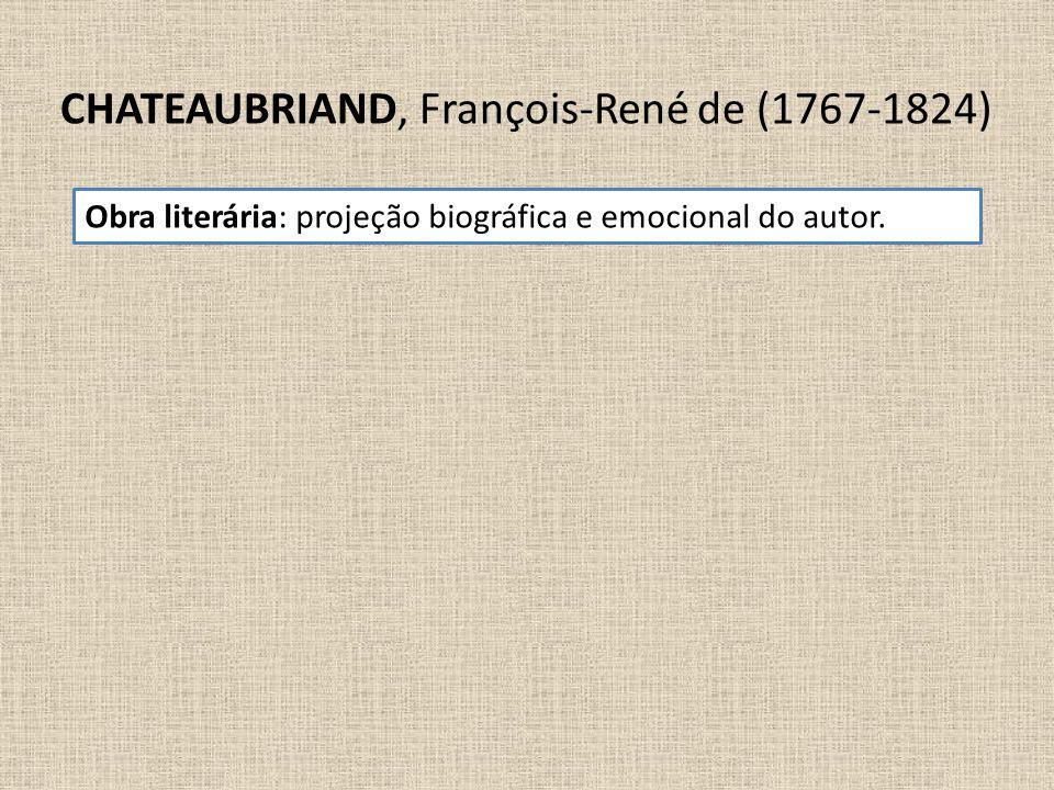 CHATEAUBRIAND, François-René de (1767-1824) Obra literária: projeção biográfica e emocional do autor.