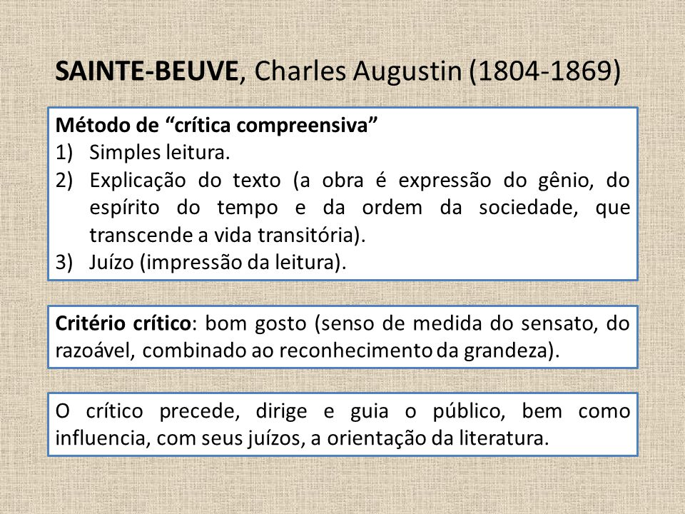Critério crítico: bom gosto (senso de medida do sensato, do razoável, combinado ao reconhecimento da grandeza). SAINTE-BEUVE, Charles Augustin (1804-1