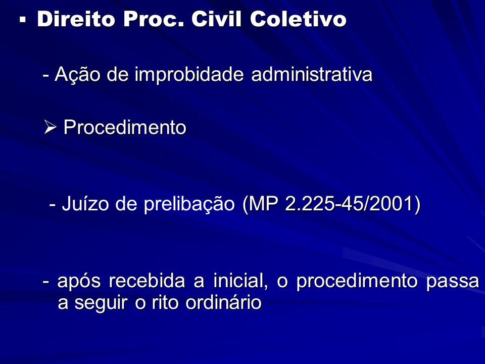  Direito Proc. Civil Coletivo - Ação de improbidade administrativa  Procedimento (MP 2.225-45/2001) - Juízo de prelibação (MP 2.225-45/2001) - após