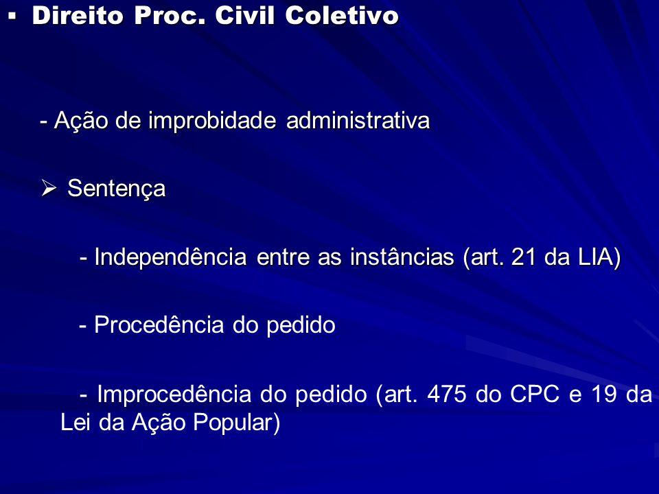  Direito Proc. Civil Coletivo - Ação de improbidade administrativa  Sentença - Independência entre as instâncias (art. 21 da LIA) - Independência en